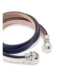 Alexander McQueen | Blue Skull Double Wrap Leather Bracelet | Lyst