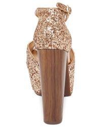 Jessica Simpson - Metallic Dany T-strap Platform Dress Sandals - Lyst