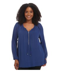 MICHAEL Michael Kors | Blue Plus Size Zip Peasant Tunic | Lyst