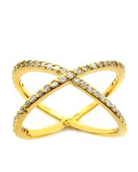 Lord & Taylor | Metallic Goldtone And Crystal Crossed Saturn Ring | Lyst