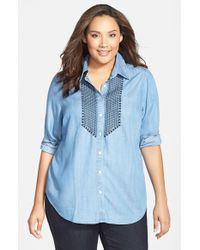 Foxcroft - Blue Embroidered Tencel Shirt - Lyst