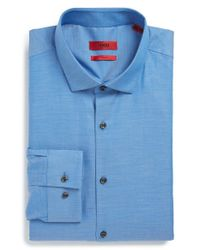 HUGO | Blue 'eastonx' Slim Fit Solid Dress Shirt for Men | Lyst
