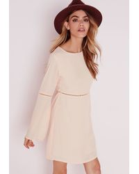 Missguided - Natural Ladder Detail Bell Sleeve Shift Dress Nude - Lyst