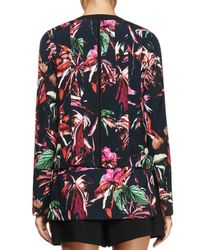 Proenza Schouler - Multicolor Long-sleeve Silk Georgette Split-neck Top - Lyst