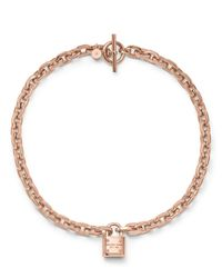 Michael Kors - Pink Padlock Toggle Necklace - Lyst