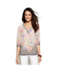 Ellen Tracy | Multicolor Floralprint Embellishedtrim Top | Lyst