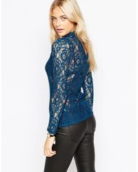 Oasis | Blue High Neck Lace Top | Lyst