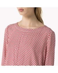 Tommy Hilfiger | Red Cotton Viscose Patterned Blouse | Lyst