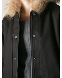 Vanessa Bruno Athé - Black Fur Hood Parka - Lyst