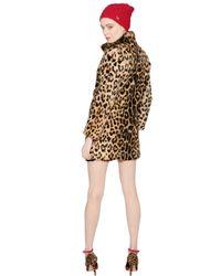 Blugirl Blumarine - Black Leopard Printed Lapin Fur Coat - Lyst