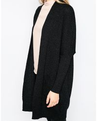 Ganni | Black Uma Knit Longline Cardigan | Lyst