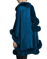 Sofia Cashmere | Blue Fox-fur-trim Cashmere Cape | Lyst