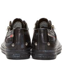 DIESEL - Black Low-top Expo-zip Sneakers for Men - Lyst