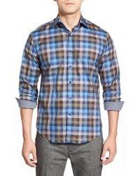 Bugatchi - Blue Shaped Fit Long Sleeve Sport Shirt for Men - Lyst