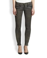 Rag & Bone - Gray Leopard-Print Leather Leggings - Lyst