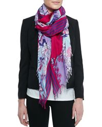 Etro - Pink Floral-Print Scarf With Fringe - Lyst