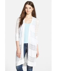 Halogen | White Open Stitch Long Cardigan | Lyst