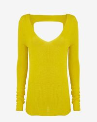 A.L.C. - Yellow Open Back V Neck Sweater - Lyst