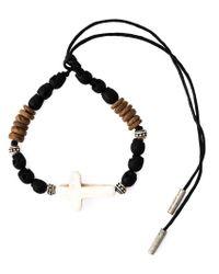 Saint Laurent - Black Crucifix Charm Bracelet - Lyst
