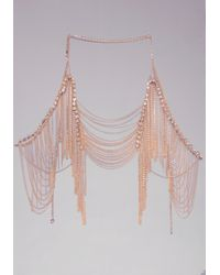Bebe - Metallic Crystal & Fringe Body Chain - Lyst