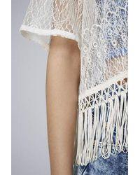 TOPSHOP - White Petite Lace Fringe Kimono Ivory - Lyst