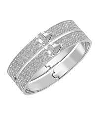 Swarovski | Metallic Distinct Stainless Steel And Crystal Bangle | Lyst