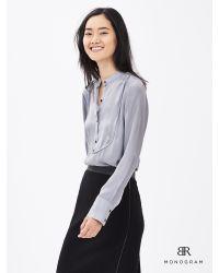 Banana Republic | Gray Br Monogram Silk Tux Shirt | Lyst