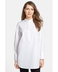 Nordstrom Collection - White Cotton Poplin Tunic Shirt - Lyst