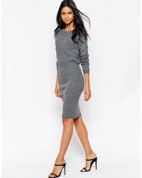 AX Paris - Gray Knitted Pencil Skirt - Lyst