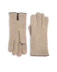 Portolano | Beige Leather-trim Honeycomb Stitched Cashmere Gloves | Lyst