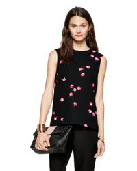kate spade new york | Black Falling Florals Top | Lyst
