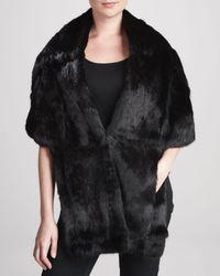 Pologeorgis - Black Long Rabbit Fur Stole with Pockets - Lyst