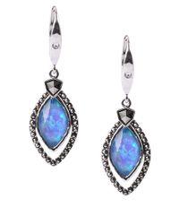 Judith Jack - Iridescent Blue Opal Drop Earrings - Lyst
