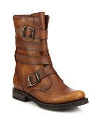 Frye | Brown Veronica Buckle Leather Boots | Lyst