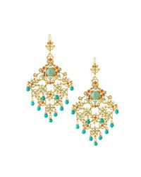 Jose & Maria Barrera - Metallic Crystal Chandelier Drop Earrings - Lyst