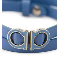 Ferragamo | Blue Wrap-around Leather Gancini Bracelet | Lyst