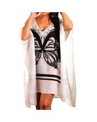 Black.co.uk - Black And White Butterfly Silk Kaftan - Lyst