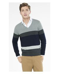 Express | Gray Mixed Stripe V Neck Sweater for Men | Lyst