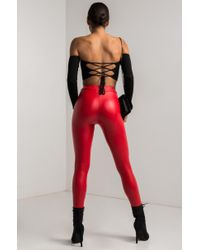 Akira | Red Keep You Close Faux Leather Leggings | Lyst