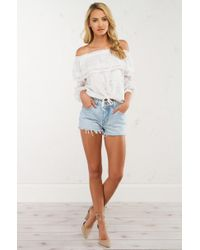Akira - White Say Youre Sorry Honey Off The Shoulder Top - Lyst