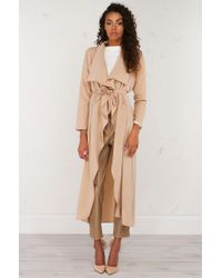 AKIRA | Natural The One Open Front Long Cardigan | Lyst