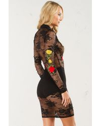 AKIRA - Black See Through Me Mesh Floral Dress - Lyst