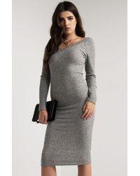 PAXTON | Gray Camden V Neck Midi Dress | Lyst