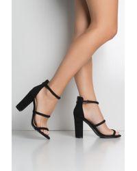 Akira - Black Look So Fine Chunky Heel Strappy Sandals - Lyst