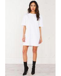 Akira - White Oversize Short Sleeve Dress - Lyst