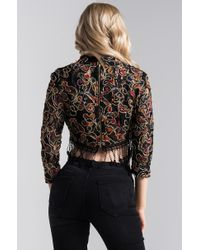 Akira - Black Last To Leave Lace Crop Top - Lyst
