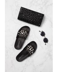Akira - Black Pearls Of Wisdom Beaded Slide Sandals - Lyst