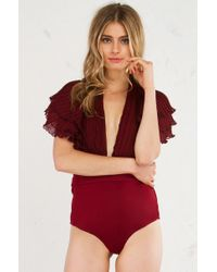 Akira - Red Ammo Great Lengths Ruffle Body Suit - Lyst