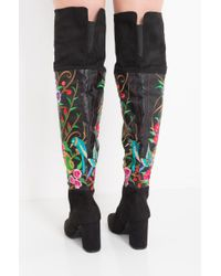 Akira - Black Catch Me If You Can Embroidered Thigh High Boots - Lyst