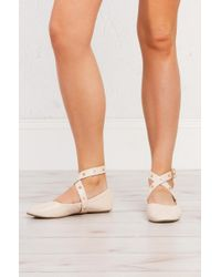 Akira - Multicolor Turn Me Around Strappy Ballet Flats - Lyst